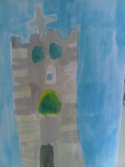 Our first winner is Todd who is 6 years old. He has painted a picture of the church using watercolour!